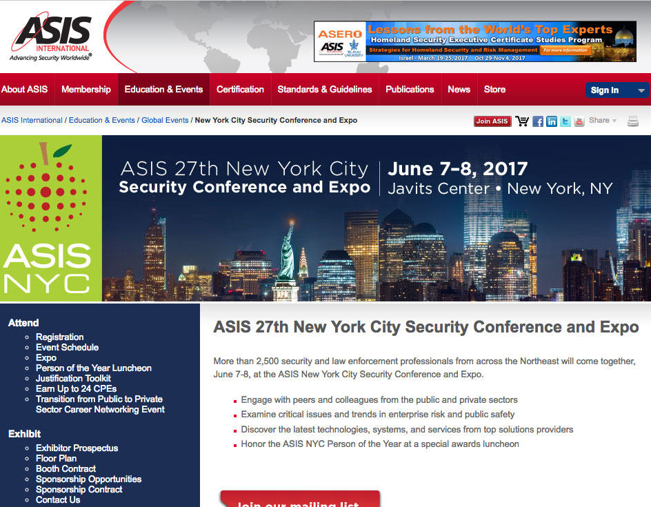 ASIS NYC Security Conference